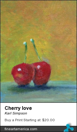 Cherry Love by Karl Simpson - Drawing - Oil On Canvas Board