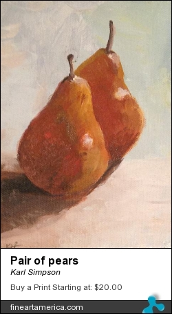 Pair Of Pears by Karl Simpson - Painting - A Relic On Canvas Board