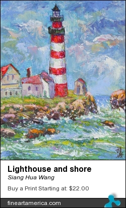 Lighthouse And Shore by Siang Hua Wang - Painting - Oil On Canvas