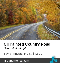 Oil Painted Country Road by Brian Mollenkopf - Photograph - Photographic Print