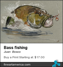 Bass Fishing by Juan Bosco - Painting - Watercolor On Paper