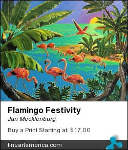 Flamingo Festivity by Jan Mecklenburg - Painting - Acrylic Paints On Canvas