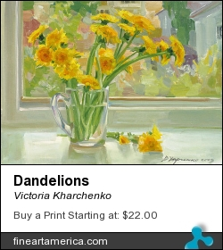 Dandelions by Victoria Kharchenko - Painting - Oil On Canvas