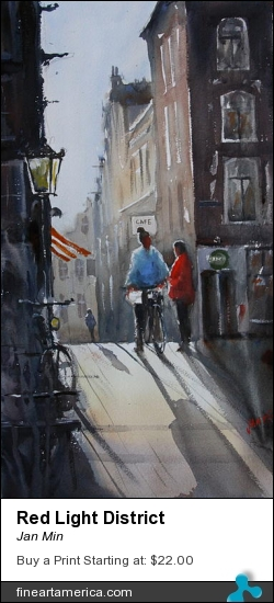 Red Light District by Jan Min - Painting - Aquarel