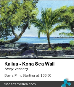 Kailua - Kona Sea Wall by Stacy Vosberg - Painting - Oil On Canvas