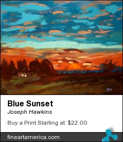 Blue Sunset by Joseph Hawkins - Pastel - Pastel On Black Paper
