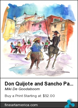 Don Quijote And Sancho Panza Entering Toledo by Miki De Goodaboom - Painting - Watercolour And Ink