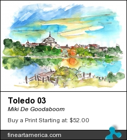 Toledo 03 by Miki De Goodaboom - Painting - Watercolour And Ink