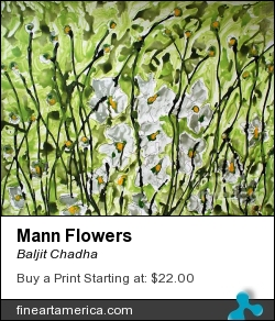 Mann Flowers by BALJIT CHADHA - Painting - Mixmedia On Paper