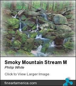 Smoky Mountain Stream M by Philip White - Painting - Aqua Acrylics