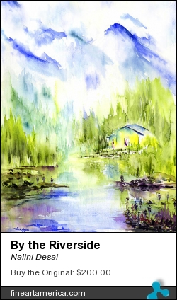 By The Riverside by Nalini Desai - Painting - Water Colours