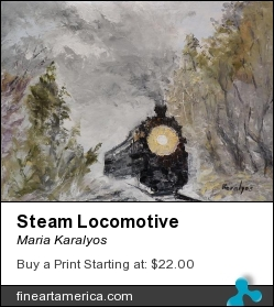 Steam Locomotive by Maria Karalyos - Painting - Oil On Canvas