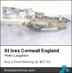 St.ives Cornwall England by Peter Laughton - Painting - Watercolor On Paper