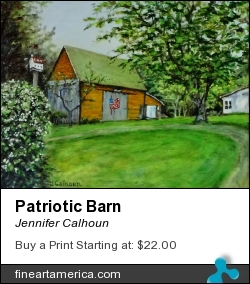 Patriotic Barn by Jennifer Calhoun - Painting - Oil On Canvas On Panel
