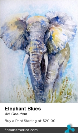 Elephant Blues by Arti Chauhan - Painting - Watercolour On Paper