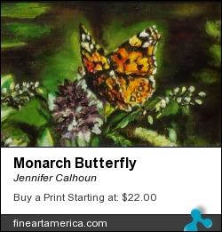 Monarch Butterfly by Jennifer Calhoun - Painting - Oil On Canvas Panel
