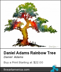 Daniel Adams Rainbow Tree by Daniel  Adams - Painting - Watercolor Painting