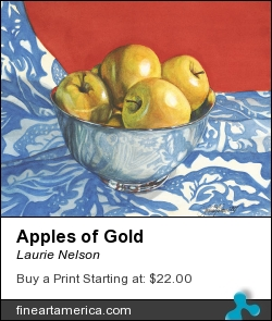 Apples Of Gold by Laurie Nelson - Painting - Watercolor