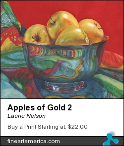 Apples Of Gold 2 by Laurie Nelson - Painting - Watercolor