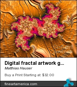 Digital Fractal Artwork Golden Red And Purple by Matthias Hauser - Digital Art - Fractal