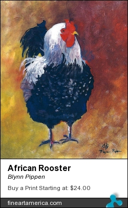 African Rooster by Blynn Pippen - Painting - Acrylic On Masonite