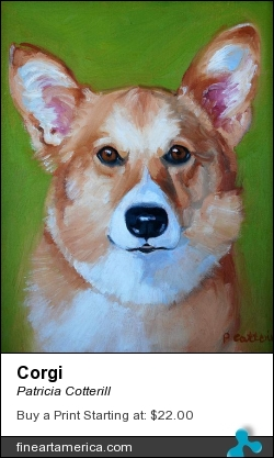 Corgi by Patricia Cotterill - Painting - Oil On Canvas