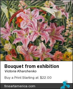 Bouquet From Exhibition by Victoria Kharchenko - Painting - Oil On Canvas