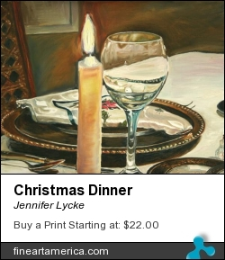 Christmas Dinner by Jennifer Lycke - Painting - Oil On Canvas