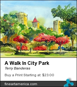 A Walk In City Park by Terry Banderas - Painting - Watercolor On Paper.