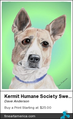 Kermit Humane Society Sweetie by Dave Anderson - Mixed Media - Graphite-digital