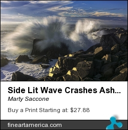 Side Lit Wave Crashes Ashore At Quoddy Boldcoast by Marty Saccone - Photograph - Fine Photography