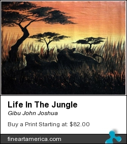 Life In The Jungle by GIBU JOHN JOSHUA - Painting - Acrylic On Canvas