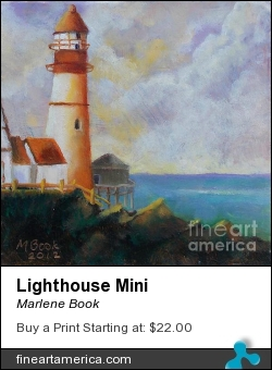 Lighthouse Mini by Marlene Book - Painting - Alkyd On Copper