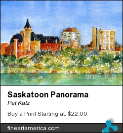Saskatoon Panorama by Pat Katz - Painting - Watercolor & Ink