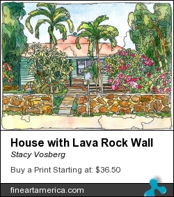 House With Lava Rock Wall by Stacy Vosberg - Painting - Watercolor And Ink On Paper
