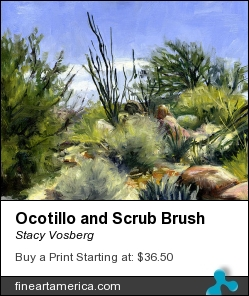 Ocotillo And Scrub Brush by Stacy Vosberg - Painting - Oil On Canvas