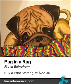 Pug In A Rug by Freya Ellingham - Painting - Acrylic On Canvas