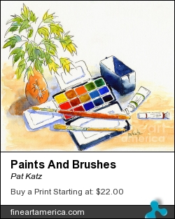 Paints And Brushes by Pat Katz - Painting - Watercolor & Ink
