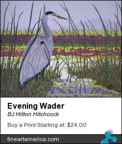 Evening Wader by BJ Hilton Hitchcock - Painting - Acrylic On Canvas