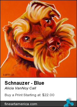 Schnauzer - Blue by Alicia VanNoy Call - Painting - Acrylic On Canvas
