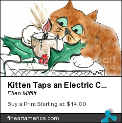 Kitten Taps An Electric Christmas Candle by Ellen Miffitt - Painting - Sumi-e On Sumi Paper