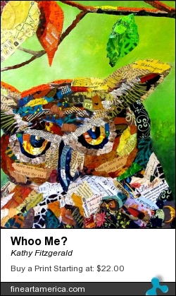 Whoo Me? by Kathy Fitzgerald - Painting - Mixed Media Collage
