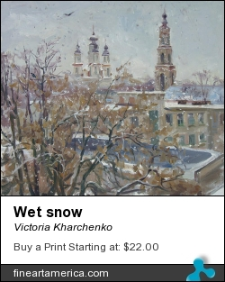 Wet Snow by Victoria Kharchenko - Painting - Oil On Canvas