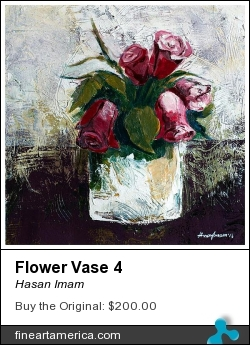 Flower Vase 4 by Hasan Imam - Painting - Mixed