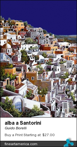 alba a Santorini by Guido Borelli - Painting - Oil On Canvas