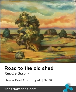 Road To The Old Shed by Kendra Sorum - Painting - Acrylic On Artist Board