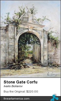 Stone Gate Corfu by Ivailo Boliarov - Painting - Oil On Canvas