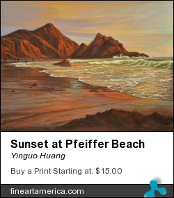 Sunset At Pfeiffer Beach by Yinguo Huang - Painting - Oil On Canvas