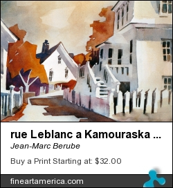 rue Leblanc a Kamouraska 15x22 by Jean-Marc Berube - Painting - Water-colour