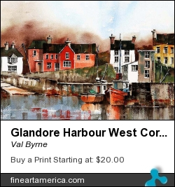 Glandore Harbour West Cork by Val Byrne - Painting - Watercolour